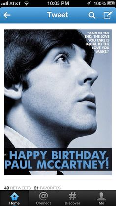 Happy 71st Sir Paul! Thank you for all the smiles, love & great music you've given us for over 50 yrs!