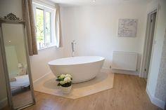 Freestanding bath inside our Brides Cottage Solid Oak Doors, Freestanding Bath, Gravel Garden, Wedding Night, Clawfoot Bathtub, Perfect Place, Brides, Lounge, Cottage