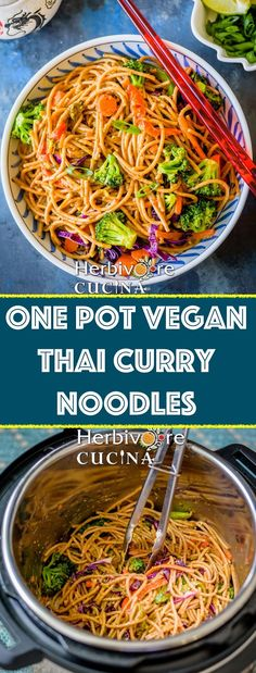 Herbivore Cucina: One Pot Vegan Thai Curry Noodles. An easy one pot weeknight meal; this Thai Curry Noodle recipe in the Instant Pot comes together in under 30 minutes and is addictive! pot recipes thai One Pot Vegan Thai Curry Noodles Tasty Vegetarian, Vegetarian Recipes Dinner, Vegan Dinners, Dinner Recipes, Instapot Vegetarian Recipes, Vegan Recipes One Pot, Vegetarian Recipes Instant Pot, Vegetarian Thai Curry, Skillet Recipes