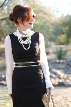 Classic black shift with big pearls and white layers/accents // Delusions of Grandeur