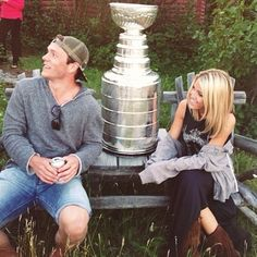 Jonathan Toews and his girlfriend Lindsey Vecchione with the stanley cup.  Noooooo!!!!! My life is ruined, God she is so lucky.