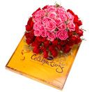 Send online 50 Pink and Red Roses with Cadbury Celebration Pack in Hyderabad. Secured online payments. More Gifts  : www.flowersgiftshyderabad.com/Newyear-Gifts-to-Hyderabad.php