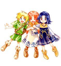 子ども組 Link, Romani, and Kafei  So cute! I think it's really adorable to see child Link have other little friends. It's nice to imagine that when he's not saving the world, he's living his life like a normal little kid; running around with his friends, chasing fairies, playing tag, etc.