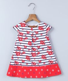 This White Floral & Navy Stripe A-line Dress - Infant, Toddler & Girls is perfect! #zulilyfinds