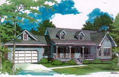 Two Covered Porches   3412VL | Architectural Designs   House Plans
