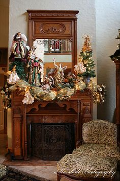 Baskets & Bows...angel details in wood inspired the display.