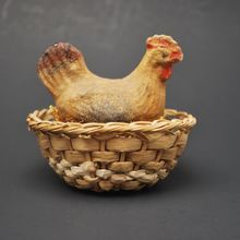 Antique Hen on Nest Candy Container/Composition/Basket