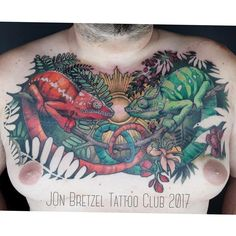 Mes beaux caméléons 😊Superbe réalisation de Jon du Bretzel Tattoo Club (Colmar, Alsace, FRANCE) Mon 1er, et je kiffe 😊😊😊😍😍😍