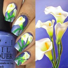 """Hey everyone!! Here's one more look at my Calla Lilies nail design, interesting enough I found this beautiful painting after 2 days of wearing my base color, and I was so amaze of how well the colors on the portrait matched with my nails! Then I knew I had found my inspiration!! - Check out my previous post for all the details! "" Photo taken by @hdinails on Instagram, pinned via the InstaPin iOS App! http://www.instapinapp.com (02/22/2016)"