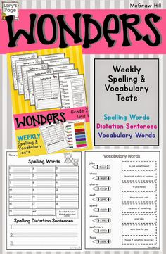 McGraw Hill Wonders Spelling and Vocabulary tests for the year.