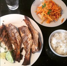 Grilled Croaker fish dinner
