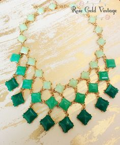 Add a pop of color to your outfit with our Shades of Green Statement necklace! Three rows of green hues make this necklace a must have.