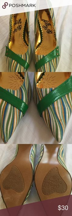 Never Worn but a Lil Scuffed Striped Green Heels. Never Worn Naughty Monkey Striped Green Heels 👠 See Photos of Shoes Since They Got A Lil Banged Up in My Closet. This Will Be Reflected In the Price. Size is a Size 9. naughty monkey Shoes Heels