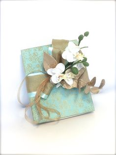 Gift Box Acqua Gold Box Wrap Wedding Favors by WrapsodyandInk