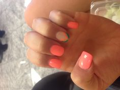 Coral nails- love the coral and real and gold!!