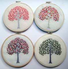 Hand embroidered tree in 6 inch wood hoop. Available by mlmxoxo