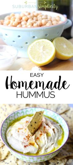 This 5 minute Homemade Hummus Recipe is even better than store bought! It's fresh, creamy and a healthy snack idea that's good anytime! Dip your favorite veggies or chips! Healthy Appetizers, Appetizer Recipes, Healthy Snacks, Healthy Recipes, Kid Snacks, Quick Recipes, Cooking Recipes, Dip Recipes, Free Recipes