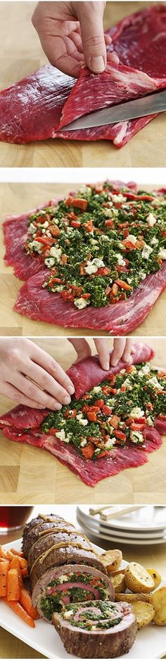 Ingredients  1 flank steak (1 1/2 to 2 pounds)  1 package frozen chopped spinach, thawed  1/2 cup crumbled blue cheese  1 jar (7 ounces) roasted red peppers, drained and chopped  2 tablespoons seasoned dry bread crumbs  1 egg yolk  3/4 teaspoon garlic salt  3/4 teaspoon ground black pepper  1 tablespoon olive oil