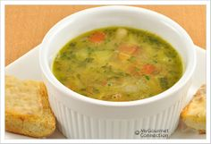 White Bean-Pesto Soup from MyGourmetConnection------ This quick and easy soup is made with fresh basil, garlic, zucchini and tomatoes. Adding a pesto-style basil and garlic blend just before serving retains a delicious garden-fresh flavor