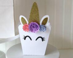 Unicorn Favor Box - Unicorn Party Decorations - Unicorn Favors - Unicorn Treat Bags - Popcorn Boxes - Unicorn First Birthday - Unicorn Theme