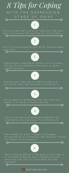 5 Stages of Grief Infographic: 8 Tips for Coping With the Depression Stage of Grief. Teens dealing with loss and grief. Youth and coping. Trauma, Ptsd, Grief Counseling, School Counseling, Dealing With Grief, Grief Support, Grief Loss, Therapy Tools, Bereavement