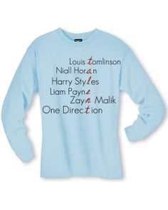 One Direction Band Members Names Talent Long Sleeve by SoulClothes, $20.00 light blue or white