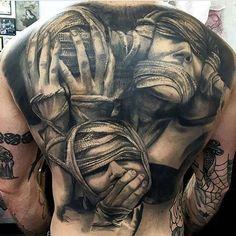61 Best Stylish, Beautiful and Unique Tattoos for Men unique tattoos for men; unique tattoos for couples; unique tattoos for my son; unique tattoos for lost loved ones; unique tattoos for parents; unique tattoos for best friends Evil Tattoos, Creepy Tattoos, Badass Tattoos, Skull Tattoos, Body Art Tattoos, Sleeve Tattoos, Hand Tattoos, Backpiece Tattoo, Demon Tattoo