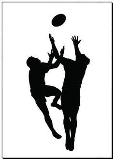 Tisk sportu silueta - Rugby fotbalový skákání chytit dlouhý centr k10566640 - plakáty, tisk na plátně, na stěnu, vytištěné reprodukce, nástěnné malby - k10566640.eps