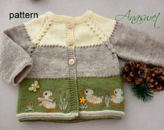 "This cardigan is made in soft pastels.She has a spring decorating, a combination of several techniques and is made from top to bottom in one piece. Size: 12-18 months Finished measurements: length - 32cm / 12.6"" width - 29,5 cm / 11.6"" Yarn : 75% acrylic, 25% wool. GAUGE 25 sts and 36 rows = 10x10 cm/4x4"" Difficulty level:Intermediate Pattern requires the following skills:Knitting Intarsia method,Duplicate stitch, Jacquard method.Embroidery Cross stitch. ATTENTION!..."