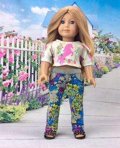 Denim Lace Flower Dress ~Panties 18 in Doll Clothes Fits  American Girl