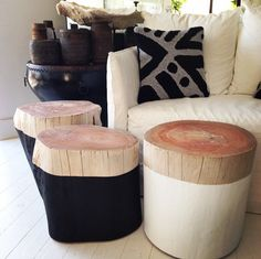 Incredibly sturdy and elegant, these beautiful log side tables are great as a table or stool. Available in black and white with natural top. Log Furniture, Furniture Design, Plywood Furniture, Chair Design, Modern Furniture, Luxury Furniture, Modern Decor, Painted Furniture, Log Side Table