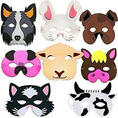 German Trendseller® - 8 x Tiermasken ┃ Bauernhof-Tiere ┃ Schaumstoff Masken┃ für Kinder ┃ Ideal zum Kindergeburtstag und Karneval