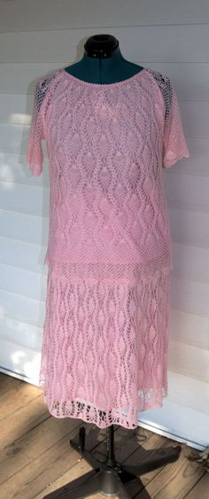 RESERVED FOR SARA KING : Vintage 1980's Pink Handmade Crochet Two Piece Set Size XL