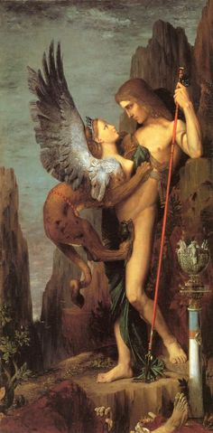 """Gustave Moreau """"Oedipus and the Sphinx"""" #art #painting #sphinx"""