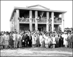 Confederate veterans and crowd standing at the Gamble Plantation: Ellenton, Florida (ca. 1920s)    Image Number: PR10556    Major Robert Gamble built this home in the 1840s following the end of the Second Seminole War. With the only surviving antebellum plantation in southern Florida, Gamble produced sugar and molasses for the New Orleans market. In 1925, the United Daughters of the Confederacy (UDC) acquired the home and 16 acres of property. T