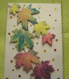 Carte double 3 D faite main feuilles d'automne et strass - fond beige métallisé - enveloppe assortie : Cartes par tatan-bonheurs