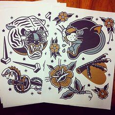 Tiger Tattoo Flash For sale # tattoo # tattooflash # tattoos #panther ...