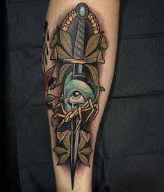 Didac Gonzalez dagger eye leaves tattoo blue