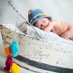 Baby Boy Fishing Hat   Photography Prop Newborn by StitchBuyStitch, $20.00