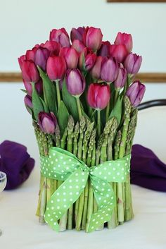Tulips and asparagus spring centerpiece - looks good enough to eat!