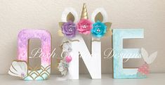 Unicorn Mermaid Letters/ Unicorn Party/ Mermaid Party/ Unicorn Mermaid/ Unicorn Mermaid Centerpiece/ Unicorn Mermaid First Birthday Unicorns & Mermaids so magical!!! Add that upscale and unique look to your special event with these adorable Unicorn Mermaid Letters. Beautifully