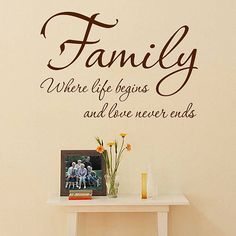 'Family' Where Life Begins Wall Quote