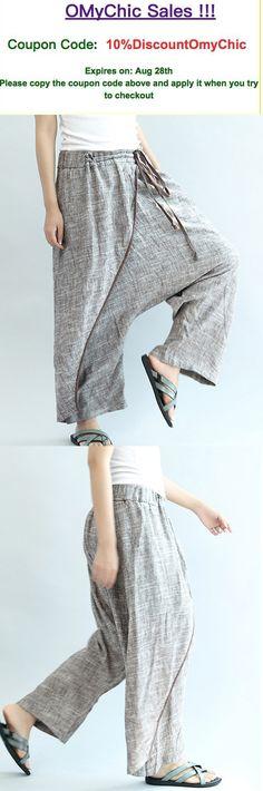 khaki stylish linen pants oversize elastic waist traveling dresses3