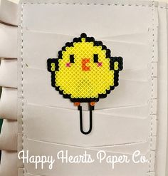 Chubby Baby Chick Planner Clip = Cutest East Planner Accessory around. Check out Happy Hearts Paper Co. on Etsy and Instagram for more fun planner ideas and Perler bead planner accessories and bookmarks. #planners #plannerideas #happyplanner #travelersnotebook #planneraddict #plannergirl #plannerclip #plannerclips #plannerlove #planneraccessories #plannerlife #officedecor #deskdecor