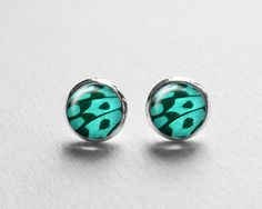 Turquoise Butterfly Earrings, Valentines Day Gift, Butterfly Earring Posts, Monarch Butterfly Earring Studs E262