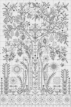 Beading _ Pattern - Motif / Earrings / Band ___ Square Sttich or Bead Loomwork ___ Макош Blackwork Cross Stitch, Blackwork Embroidery, Cross Stitch Tree, Cross Stitch Samplers, Hand Embroidery Patterns, Cross Stitch Flowers, Cross Stitch Charts, Cross Stitch Designs, Cross Stitching