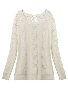 Casual Bow Hollow Pullover Loose Long Sleeve Knit Women Sweater - Gchoic.com