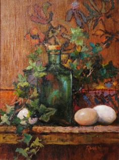 Oriental Carpet, Green Glass and Eggs by Theresa Rankin Oil on Canvas 12x16