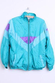 Dirk Stuyts Womens M Shiny Jacket Turquoise Bomber Tracksuit Top - RetrospectClothes