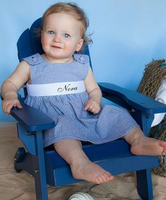 Look at this #zulilyfind! Navy Gingham Personalized Sash Jumper - Infant, Toddler & Girls by Princess Linens #zulilyfinds